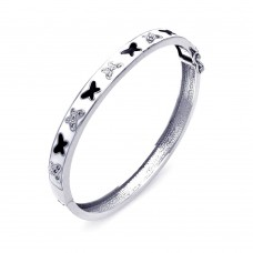 **Closeout** Sterling Silver Rhodium Plated White Enamel Butterfly Design CZ Bangle Bracelet bgg00028