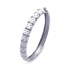 Wholesale Sterling Silver 925 Rhodium Plated White Enamel CZ Bangle Bracelet - BGG00030