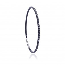 **Closeout** Sterling Silver Black Rhodium Plated CZ Bangle Bracelet bgg00035
