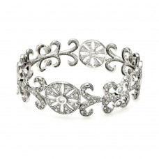 **Closeout** Sterling Silver Rhodium Plated Flower Design CZ Bangle Bracelet bgg00036