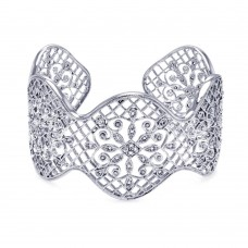 **Closeout** Wholesale Sterling Silver 925 Rhodium Plated Flower Filigree Outline Clear CZ Bangle Bracelet - BGG00037