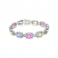 Wholesale Sterling Silver 925 Rhodium Plated Multiple Multicolor Square CZ Bracelet - BGB00007