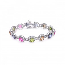 Wholesale Sterling Silver 925 Rhodium Plated Multiple Multicolor Round CZ Bracelet - BGB00008