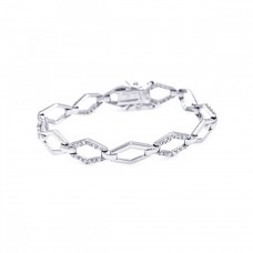 Wholesale Sterling Silver 925 Rhodium Plated Open Sharp Marquis CZ Outline Bracelet - BGB00010
