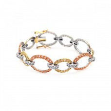 **Closeout** Sterling Silver Rose Gold and Gold and Rhodium Plated Multiple Open Circle CZ Bracelet - BGB00014