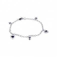 Wholesale Sterling Silver 925 Rhodium Plated Multiple Heart CZ Dangling Bracelet - BGB00019