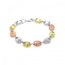 **Closeout** Sterling Silver Rhodium Plated Multiple Multicolor Round Bracelet bgb00025