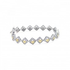 Wholesale Sterling Silver 925 Rhodium Plated Multiple Yellow Round CZ Bracelet - BGB00026