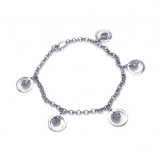 Wholesale Sterling Silver 925 Rhodium Plated Open Circle Dangling Center Heart CZ Inlay Bracelet - BGB00036