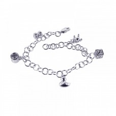 Wholesale Sterling Silver 925 Rhodium Plated Multiple Dangling Objects CZ Bracelet - BGB00040