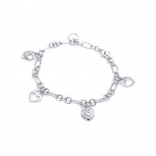 Wholesale Sterling Silver 925 Rhodium Plated Multiple Dangling Open Heart Charm CZ Bracelet - BGB00041