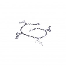 Wholesale Sterling Silver 925 Rhodium Plated Multiple Dangling Open Heart Key CZ Bracelet - BGB00043