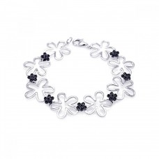 Sterling Silver Black and Rhodium Plated Multiple Open Flower CZ Bracelet - BGB00046