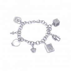 Wholesale Sterling Silver 925 Rhodium Plated Multiple Dangling Objects CZ Bracelet - BGB00048