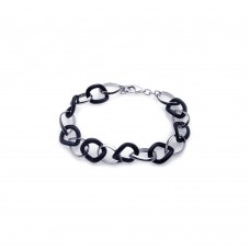 **Closeout** Sterling Silver Rhodium Plated Onyx and Silver Link Bracelet bgb00056