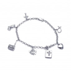 Wholesale Sterling Silver 925 Rhodium Plated Multiple Dangling Objects CZ Bracelet - BGB00059