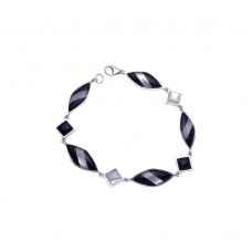 **Closeout** Sterling Silver Rhodium Plated Black & White Bracelet bgb00062