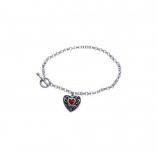 **Closeout** Sterling Silver Rhodium Plated Dangling Red Heart CZ Inlay Bracelet bgb00064