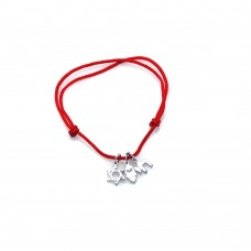 Sterling Silver Rhodium Plated Red Cord Sign Charms Bracelet bgb00066