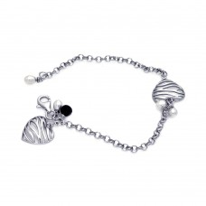 **Closeout** Sterling Silver Rhodium Plated Matte Finish Hanging Two Pearl Zebra Patter Open Heart Bracelet bgb00072