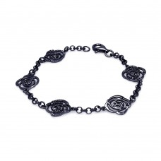 **Closeout** Sterling Silver Black Rhodium Plated Open Flower Outline Bracelet bgb00074