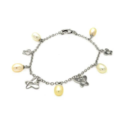 Wholesale Sterling Silver 925 Rhodium Plated Dangling Open Butterfly with Fresh Water Pearl Bracelet - BGB00081