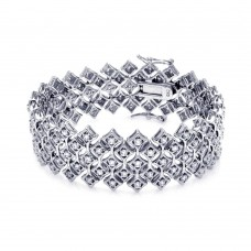 **Closeout** Sterling Silver Rhodium Plated Wide Fiver Row CZ Bracelet bgb00084