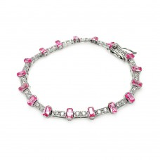 Sterling Silver Pink Baguette and Clear CZ Bracelet - BGB00095