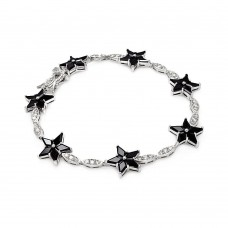 **Closeout** Sterling Silver Rhodium Plated Black Star & Clear Marqui CZ Bracelet bgb00098