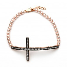 Wholesale Sterling Silver 925 Gold and Black Rhodium Plated Sideways Cross CZ Champagne Pearl Bracelet - BGB00105