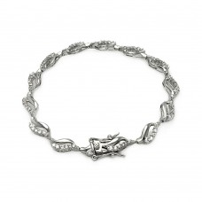 Wholesale Sterling Silver 925 Rhodium Plated Open Wave Tennis Clear CZ Bracelet - BGB00107