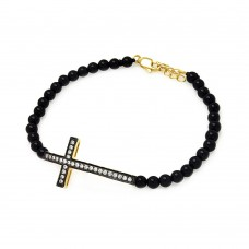 Wholesale Sterling Silver 925 Black and Gold Rhodium Plated Sideways Cross CZ Black Bead Bracelet - BGB00121