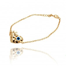 Wholesale Sterling Silver 925 Gold Plated Evil Eye Heart CZ Bracelet - BGB00136