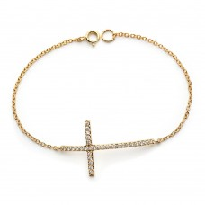 Wholesale Sterling Silver 925 Gold Plated Sideways Cross Clear CZ Inlay Bracelet - BGB00148