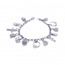 Wholesale Sterling Silver 925 Rhodium Plated Multiple Charm Bracelet - DSB00003