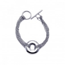 **Closeout** Sterling Silver Rhodium Plated Multiple Chain Open Circle Bracelet dsb00004