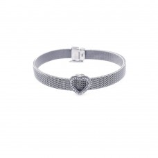 Sterling Silver Rhodium Plated Heart Clear CZ Mesh Bracelet - STB00003