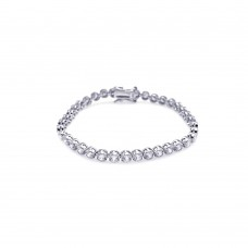 Sterling Silver Rhodium Plated Clear CZ Bubble Tennis Bracelet - STB00015