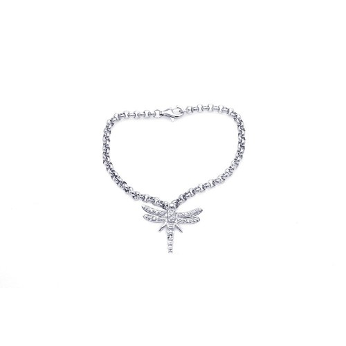 Wholesale Sterling Silver 925 Rhodium Plated Clear CZ Dragonfly Bracelet - STB00047