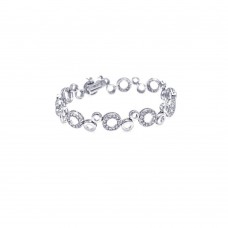**Closeout** Sterling Silver Rhodium Plated Clear CZ Open Bubble Bracelet - STB00055