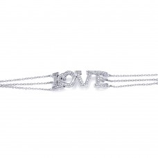**Closeout** Sterling Silver Rhodium Plated Clear CZ Love Bracelet - STB00056