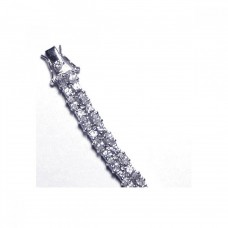 **Closeout** Sterling Silver Rhodium Plated Clear CZ Tennis Bracelet - STB00072