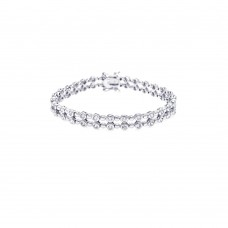 **Closeout** Sterling Silver Rhodium Plated Clear CZ Tennis Bracelet - STB00138
