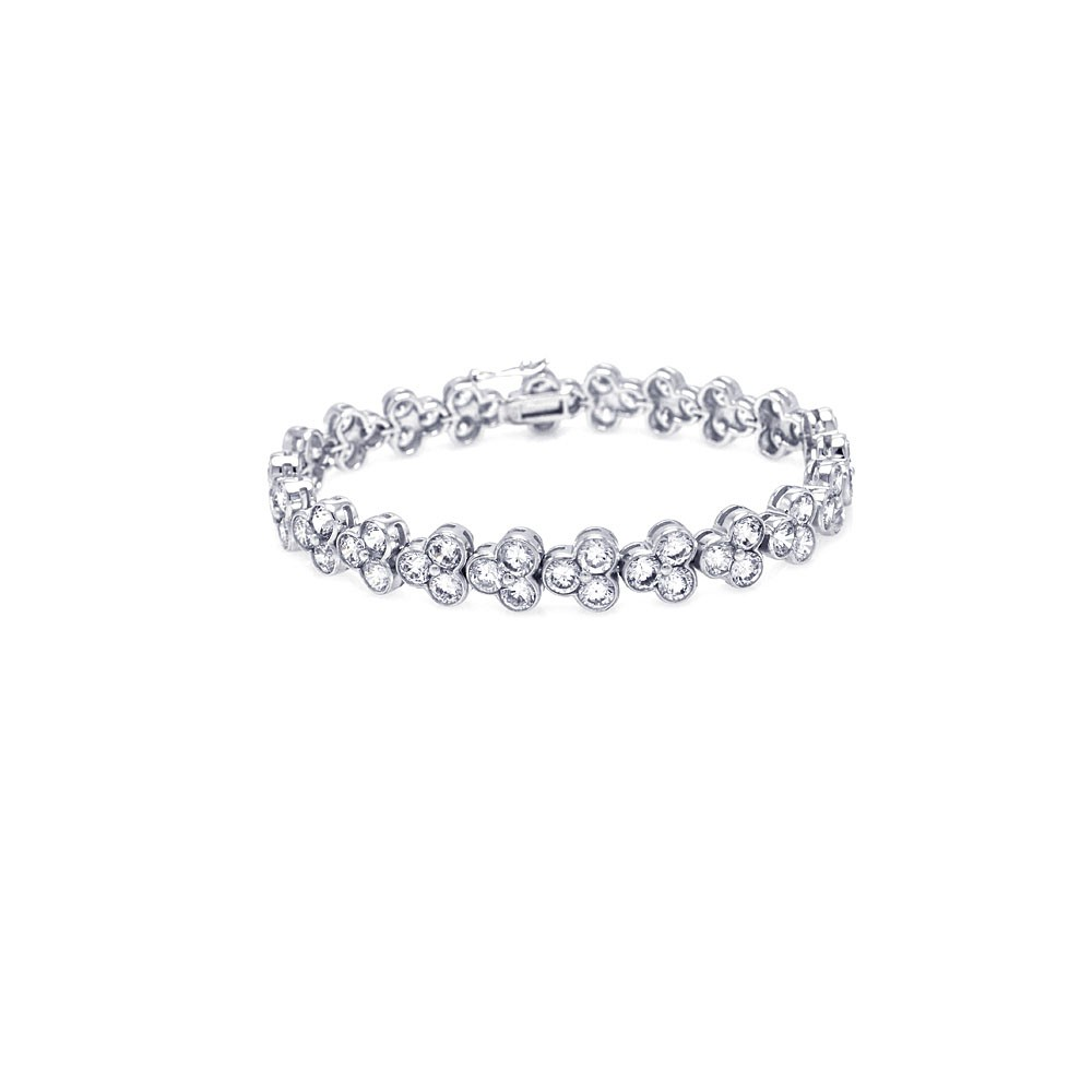 -Closeout- Wholesale Sterling Silver 925 Rhodium Plated Clear CZ Tennis Bracelet - STB00145