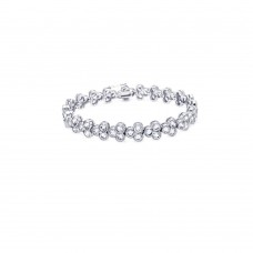**Closeout** Sterling Silver Rhodium Plated Clear CZ Tennis Bracelet - STB00145