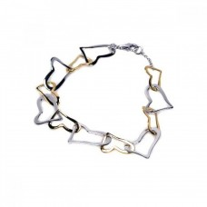 **Closeout** Sterling Silver Rhodium and Gold Plated Two Tone Open Multi Heart Bracelet - STB00155