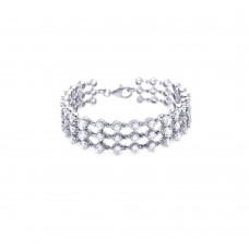 **Closeout** Sterling Silver Rhodium Plated 3 Row Clear CZ Bracelet - STB00160