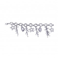 **Closeout** Sterling Silver Rhodium Plated Hanging Pearl Open Star Clear Round and Teardrop CZ Bracelet - STB00258