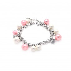 Sterling Silver Rhodium Plated White and Pink Pearl Clear CZ Bracelet - STB00271
