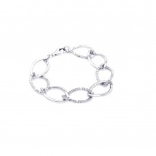 **Closeout** Sterling Silver Rhodium Plated Big Open Multi Link Clear CZ Bracelet - STB00274